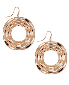 Destiny Circle Drop Earrings in 18k Rose Gold over Sterling Silver