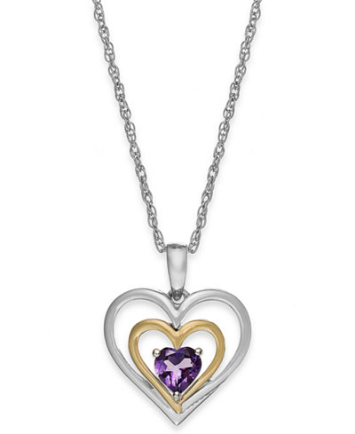 Amethyst Heart Pendant Necklace in 14k Gold and Sterling Silver (3/8 ct. t.w.)