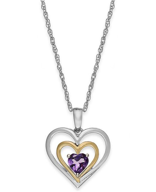 Macy's Amethyst Heart Pendant Necklace in 14k Gold and Sterling Silver (3/8 ct. t.w.)