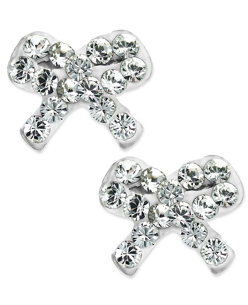 Children S Swarovski Crystal Bow Stud Earrings In Resin Epoxy And 14k Gold 1 4 Ct T W