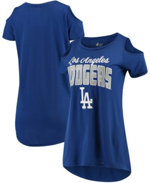 Women's Royal Los Angeles Dodgers Clear the Bases Cold Shoulder T-shirt