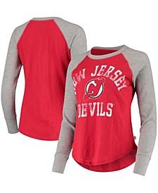 Women's Red, Heathered Gray New Jersey Devils Waffle Raglan Long Sleeve T-shirt