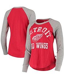 Women's Red, Heathered Gray Detroit Red Wings Waffle Raglan Long Sleeve T-shirt