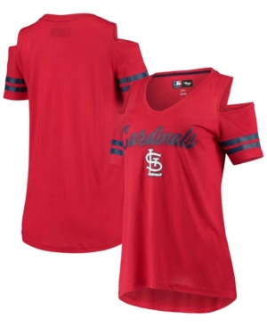 Women's Red St. Louis Cardinals Extra Inning Cold Shoulder T-shirt