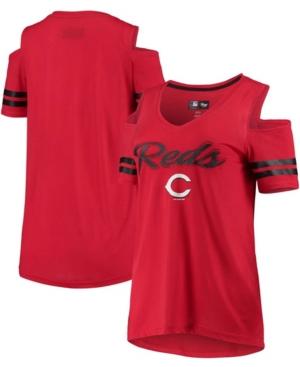 Women's Red Cincinnati Reds Extra Inning Cold Shoulder T-shirt