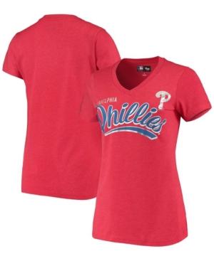 Women's Heathered Red Philadelphia Phillies Good Day V-Neck T-shirt