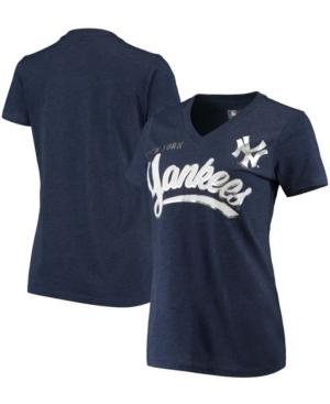 Women's Heathered Navy New York Yankees Good Day V-Neck T-shirt