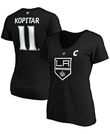 Women's Anze Kopitar Black Los Angeles Kings Team Authentic Stack Name Number V-Neck T-shirt