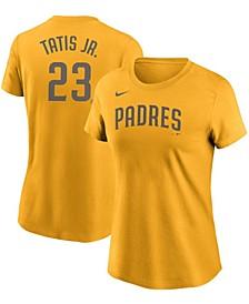 Women's Fernando Tats Jr. Gold-Tone San Diego Padres Name Number T-shirt