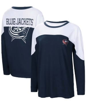 Women's Navy Columbus Blue Jackets Pop Fly Long Sleeve T-shirt