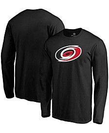 Men's Black Carolina Hurricanes Primary Team Logo Long Sleeve T-shirt