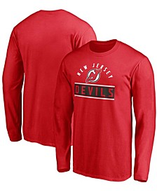 Men's Big and Tall Red New Jersey Devils Team Arc Knockout Long Sleeve T-shirt