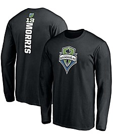 Men's Jordan Morris Black Seattle Sounders FC Playmaker Name and Number Long Sleeve T-shirt
