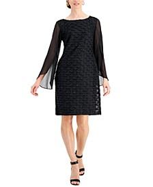 Jacquard Cape Sleeve Dress