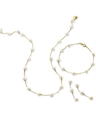 EFFY® Cultured Freshwater Pearl Station Bracelet (5-1/2-6mm) in 14k Gold (Also available in 14k White Gold and 14k Rose Gold)