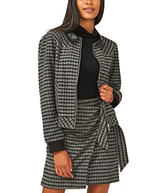 Plaid Faux-Leather-Trimmed Zip-Front Jacket, Created for Macy's