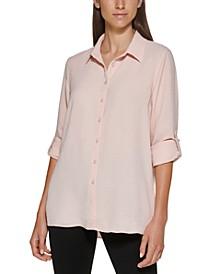 Long Sleeve Roll Tab Collared Shirt