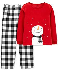 Little Girls 2-Pc. Snowman Pajamas
