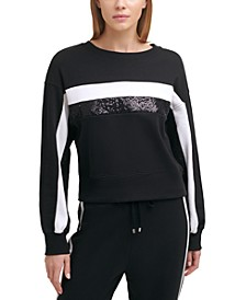 Sequined Striped Sweatshirt