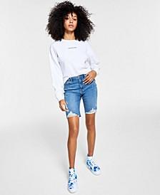 High-Rise Frayed Denim Shorts