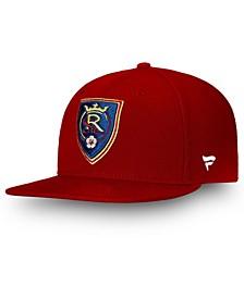 Men's Red Real Salt Lake Primary Emblem Snapback Adjustable Hat