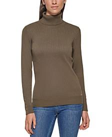Button Sleeve Turtleneck Sweater