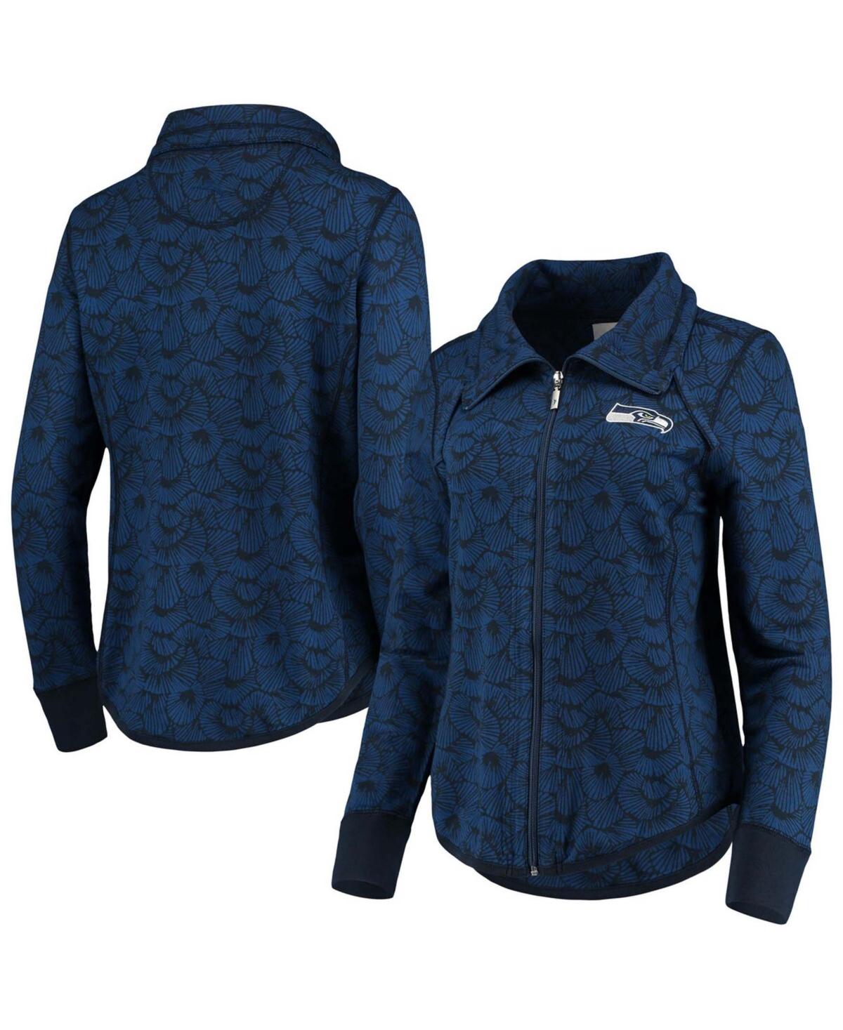 Women's College Navy Seattle Seahawks Sport Shell We Dance Tri-Blend Full-Zip Sweatshirt