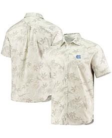 Men's Oatmeal North Carolina Tar Heels Forest Fronds Button-Up Shirt