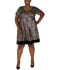 Plus Size Foil-Knit Dress