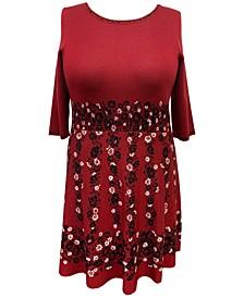 Plus Size Floral-Print Sweater Dress