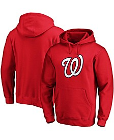 Men's Red Washington Nationals Official Logo Pullover Hoodie