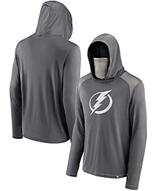 Men's Charcoal Tampa Bay Lightning Rally On Transitional Pullover Hoodie with Face Covering