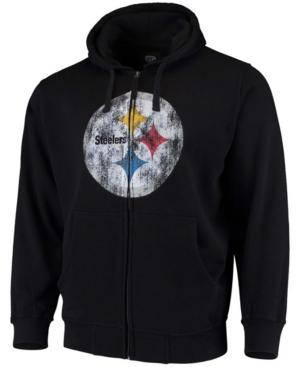 Men's Big and Tall Black Pittsburgh Steelers Primary Logo Full-Zip Hoodie