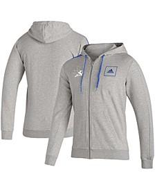 Men's Heathered Gray San Jose Sharks 3-Stripe Tape Full-Zip Track Jacket