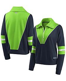 Women's College Navy Seattle Seahawks Half-Zip Jacket