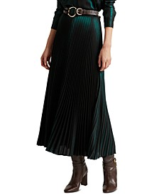 Metallic Satin A-Line Skirt