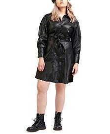 Plus Trendy Belted Shirt Dress