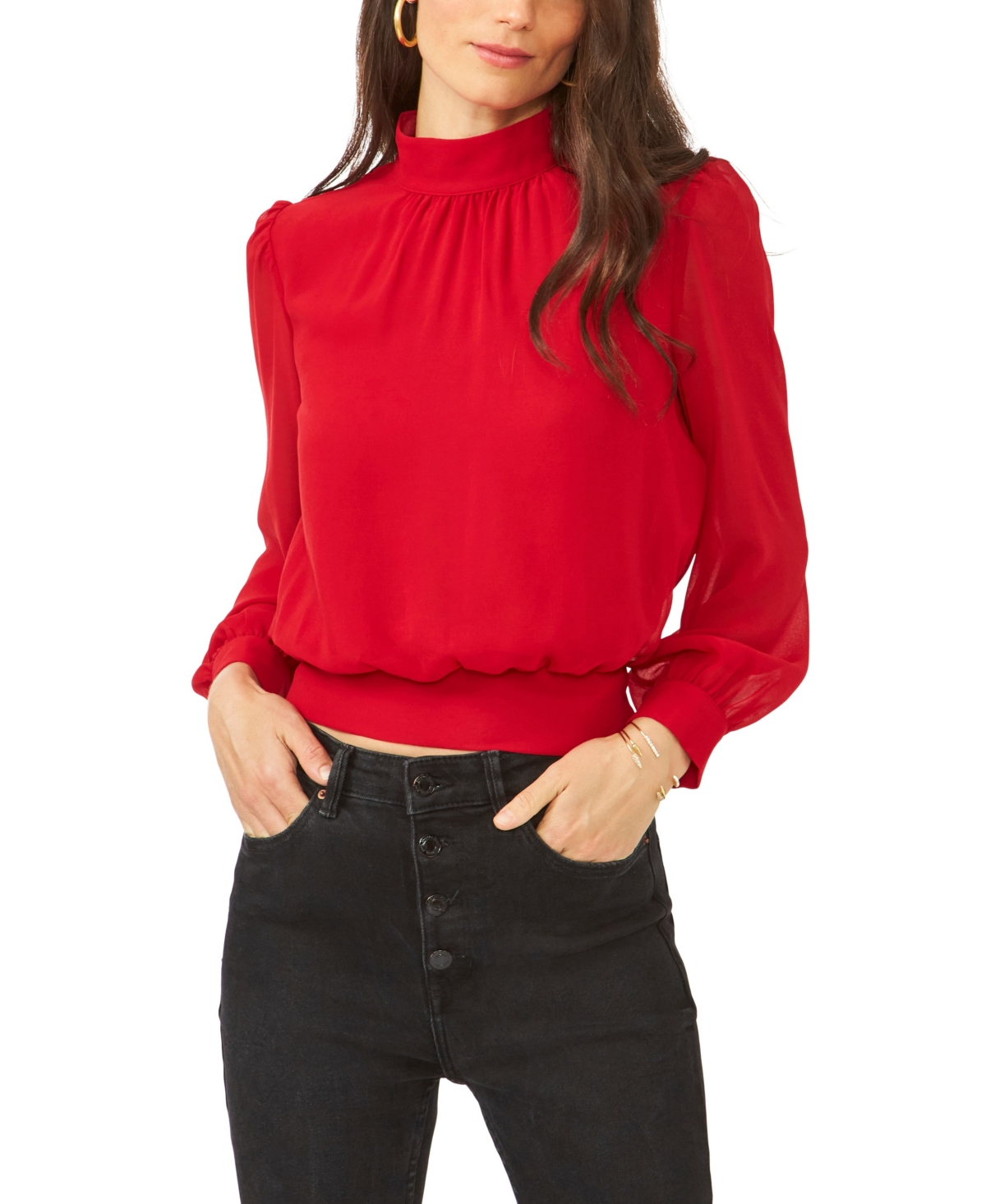 1.state Long Sleeve Cropped Mock Neck Blouse