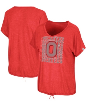 Women's Heathered Scarlet Ohio State Buckeyes Fifth Sense Drawcord V-Neck T-shirt