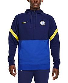 Men's Blue Chelsea Travel Fleece Half-Zip Hoodie