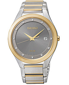 Seiko Men's Solar Diamond Accent Two-Tone Stainless Steel Bracelet Watch 39mm SNE344 - Created for Macy's!