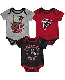 Baby Girls and Boys Red, Black, Heathered Gray Atlanta Falcons Champ 3-Pack Bodysuit Set