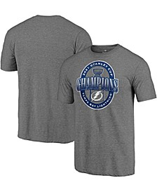 Men's Heather Gray Tampa Bay Lightning 2021 Stanley Cup Champions Heroic Sides Tri-Blend T-shirt