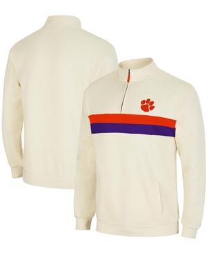 Men's Cream Clemson Tigers Activities Quarter-Zip Jacket