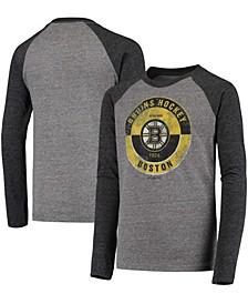 Youth Big Boys Black Boston Bruins Rink Splitter Tri-Blend Raglan Long Sleeve T-Shirt
