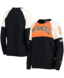 Women's Orange-Black San Francisco Giants Baseline Raglan Historic Logo Pullover Sweatshirt