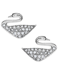 Swarovski Rhodium-Plated Crystal Swan Stud Earrings