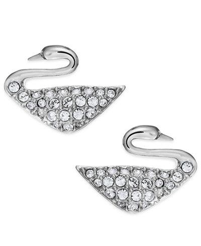 Swarovski Rhodium-Plated Crystal Swan Stud Earrings
