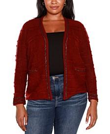 Plus Size Embellished Long Sleeve Cardigan