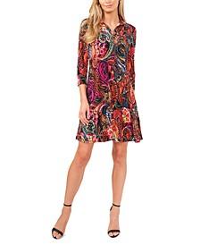 Printed O-Zip Swing Dress